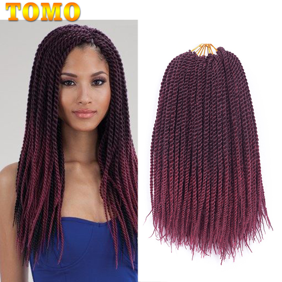 TOMO Hair 22 Roots Senegalese Twist Crochet Braids Ombre Brown Burgundy Red Braiding Hair Synthetic Crochet Hair Extensions