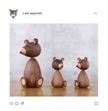 Hot style set of Nordic puppet walnut bear Danish squirrel creative home furnishing birthday gift gifts