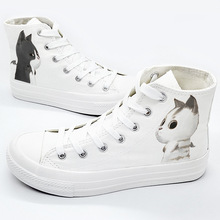 New Fashion Girls White Canvas Shoes Cute Cat Graffiti Women