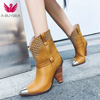 Chic Cow Leather Ankle Boots Women Metal Pointed Toe Rivet Tassel Strange High Heel Boots Woman Fashion ShortBoots brand sheep skin leather mesh air pumps fashion ankle boots for women sexy pointed toe cowboy boots woman high heel summer boots