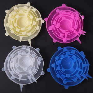 6 Pcs Food Silicone Fresh Cover Silicone Stretch Lids Kitchen Reusable Seal Lid bowl Lid Cover Food Wrap Kitchen Accessories