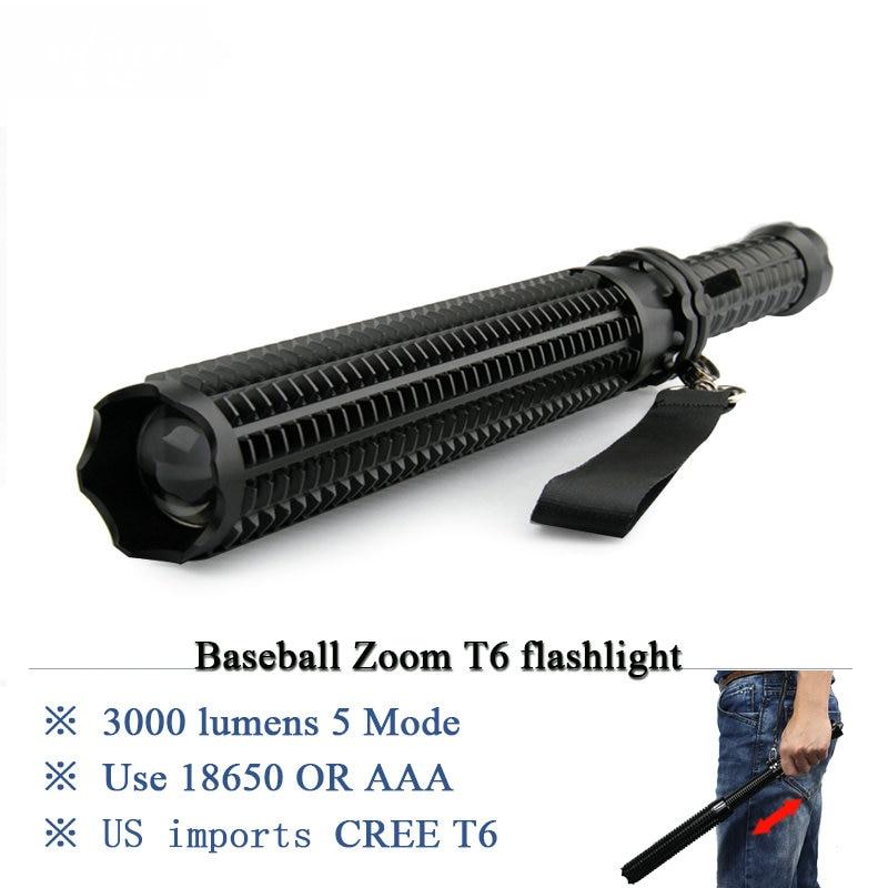 Taktische Baseball Bat Zoom LED CREE XML T6 Taschenlampe selbstverteidigung Taschenlampe 2800 lm 5 Modus Verwenden 18650 Akku ODER AAA