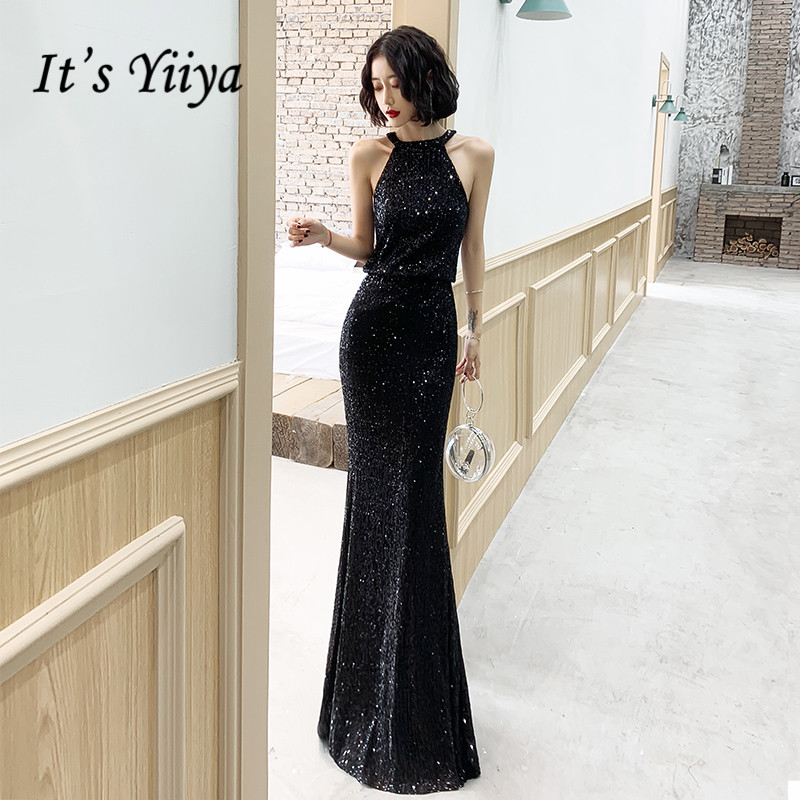 It's YiiYa Evening Dress Black Elegant Halter Sleeveless Robe De Soiree K127 Plus Size Mermaid Long Formal Dresses For Women