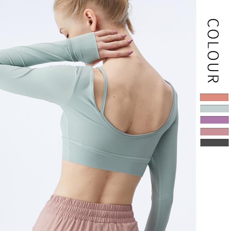 Новинка 2021, футболка с длинным рукавом для красивой спины и йоги, женская футболка с длинным рукавом для бега и упражнений, женская футболка ...