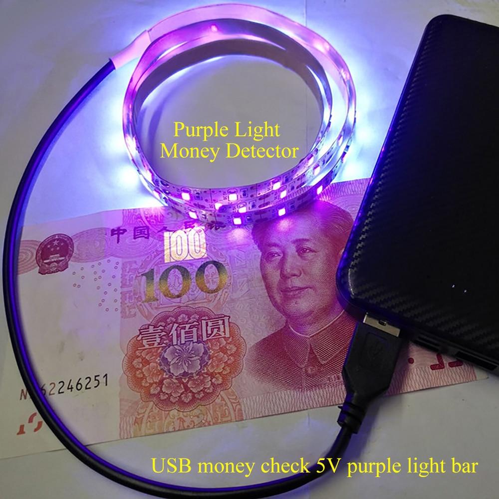 USB Money 5V Sterilization Disinfection Detector UV Ultraviolet LED Purple Light Bar Home Decoration Lamp UV LED Strip Light