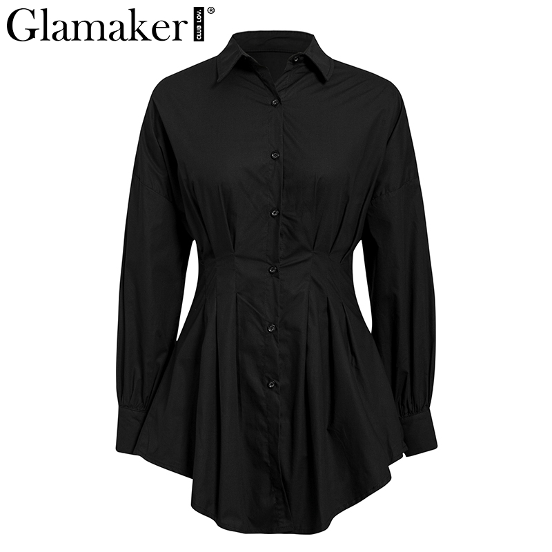 Glamaker Batwing sleeve white mini dress Women office lady pleated blouse shirt dress Autumn high waist slim elegant short dress 2