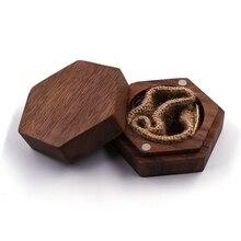 Ring-Box-Holder Wedding-Ring Hexagon Jewelry-Box Black Personalized Wood Bearer Walnut