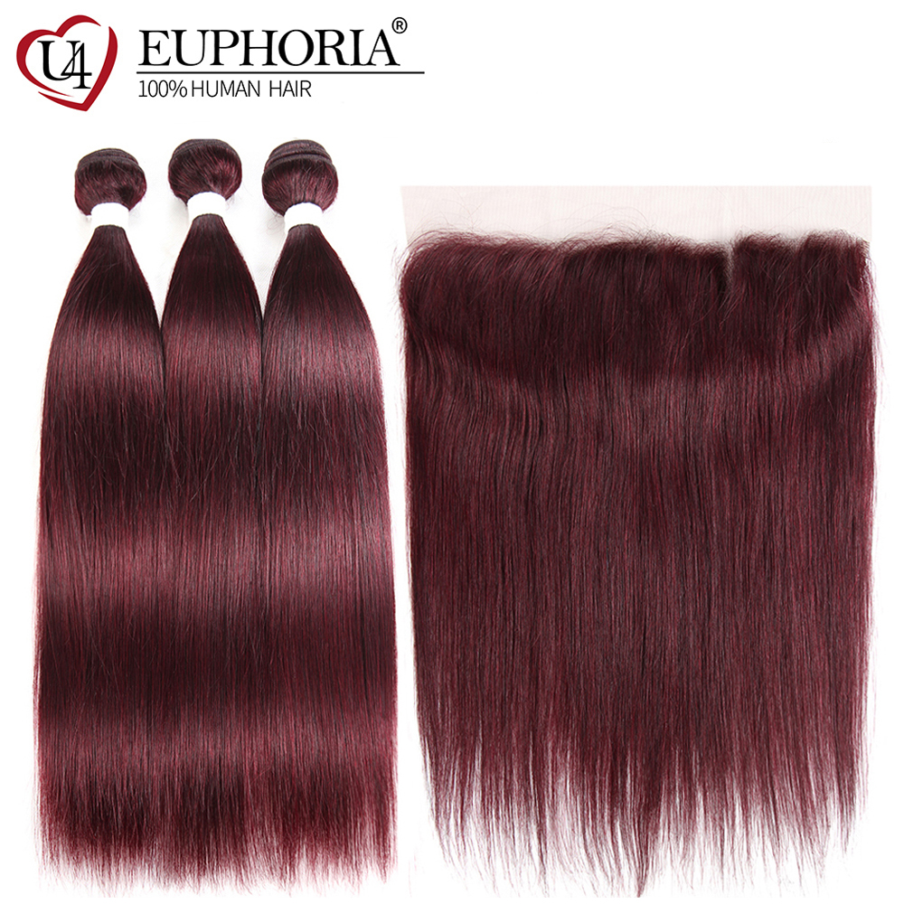Brazilian Lace Frontal With 99J/Burgundy Red Color Hair Bundles Deal EUPHORIA 100% Remy Human Hair Weaves With Straight Closures