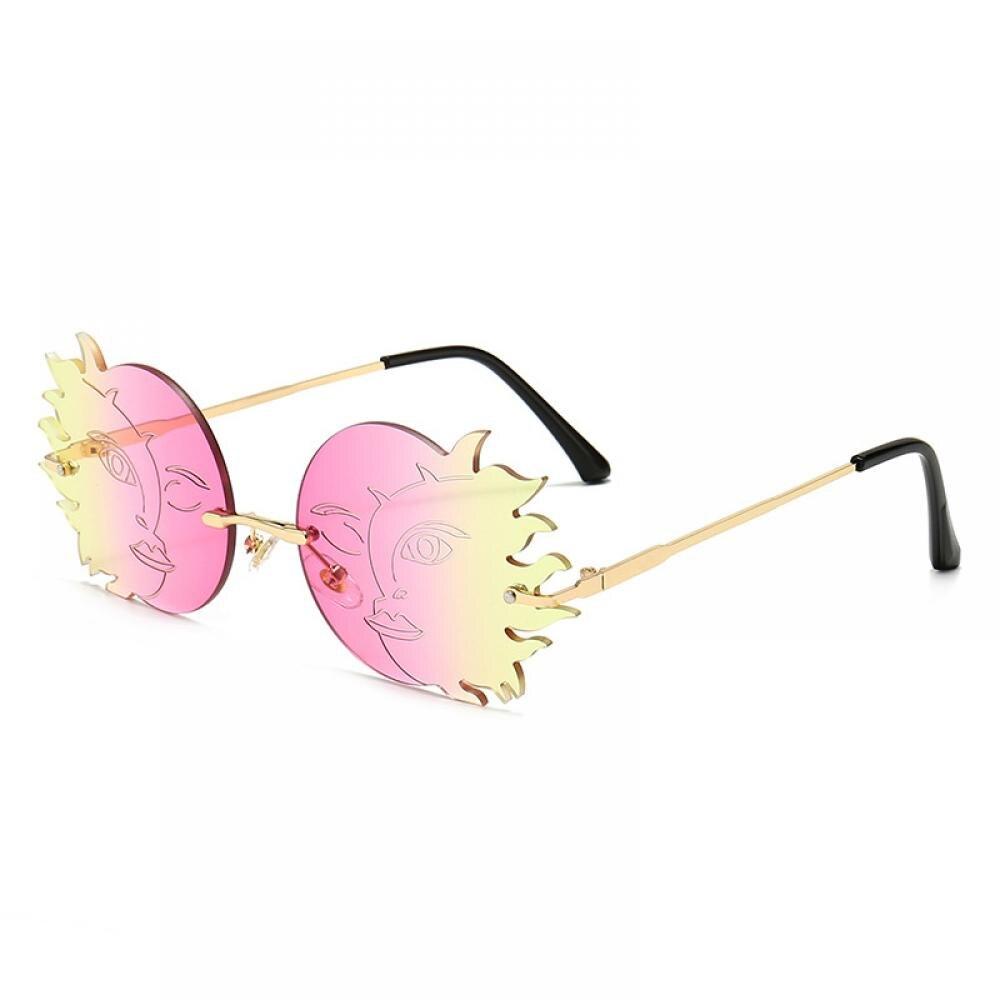 Оранжевые солнцезащитные очки без оправы с Луной от солнца модные