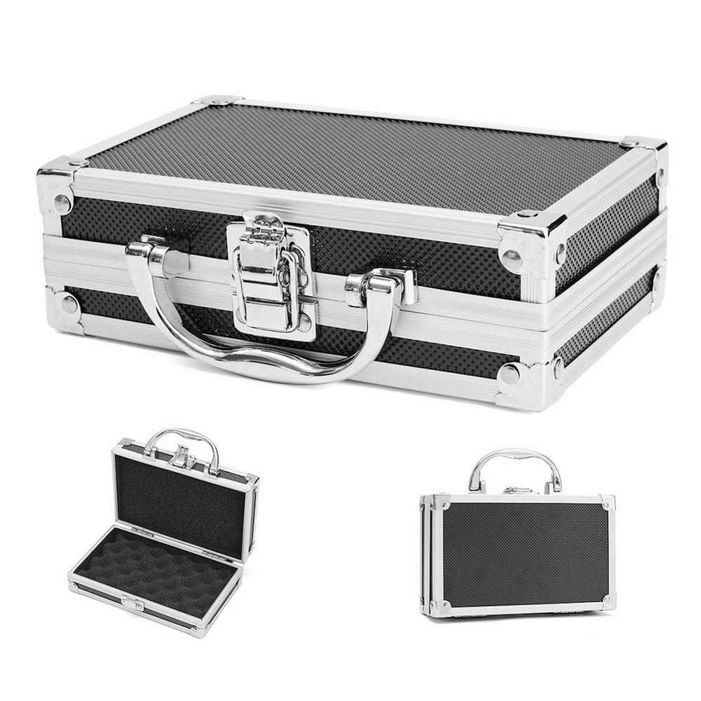Durable Sponge Inside Portable Sturdy Organiser Hard Carry Practical Storage Aluminum Alloy Tool Box Travel Carry Case