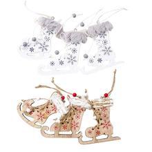 2020 New 3Pcs/lot Innovative Christmas Skates Tree Painted Ski Shoes Wooden Decorative Pendant Party Supplies