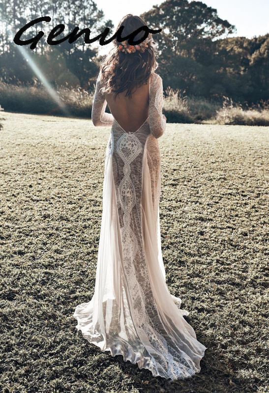 2019 New <font><b>Sexy</b></font> <font><b>Hollow</b></font> Out <font><b>Lace</b></font> Stitching Chiffon Long Sleeve Maxi Long <font><b>Dress</b></font> Women Split Hem O Neck <font><b>Backless</b></font> White Party <font><b>Dresses</b></font> image