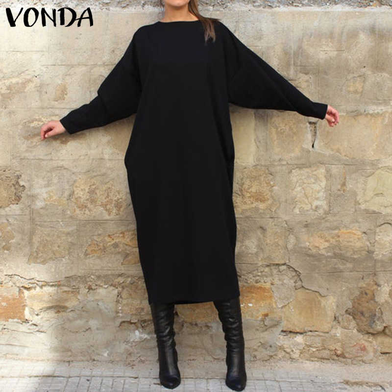 Long Sleeve Shirt Dress VONDA Women Casual Solid Color Long Dress Fashion Round Neck Vestidos Plus Size Bohemian Robe 5XL
