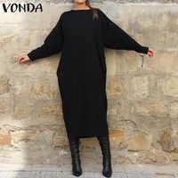 Langarm Shirt Kleid VONDA Frauen Casual Einfarbig Lange Kleid Mode Rundhals Vestidos Plus Größe Böhmischen Robe 5XL