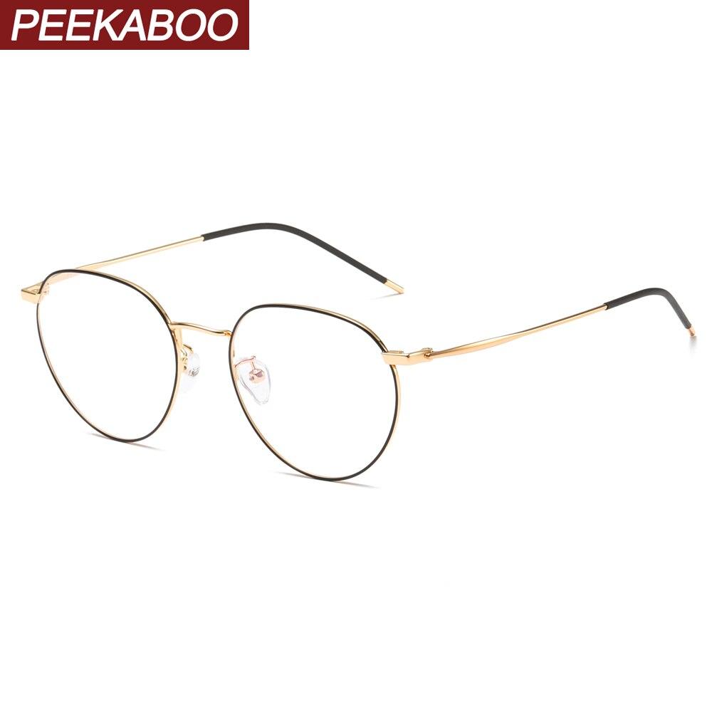 Peekaboo Gafas de metal con marco azul claro protección para hombres negro dorado para ordenador monturas redondas gafas de prescripción para mujer dropship