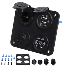 1pc Car Marine Boat Switch Panel Dual USB Charger + Cigarette Lighter + Red LED Voltmeter + ON-Off Toggle Switch Panel 5 gang on off car toggle switch panel 4 2a dual usb socket charger led voltmeter cigarette lighter boat marine truck switches