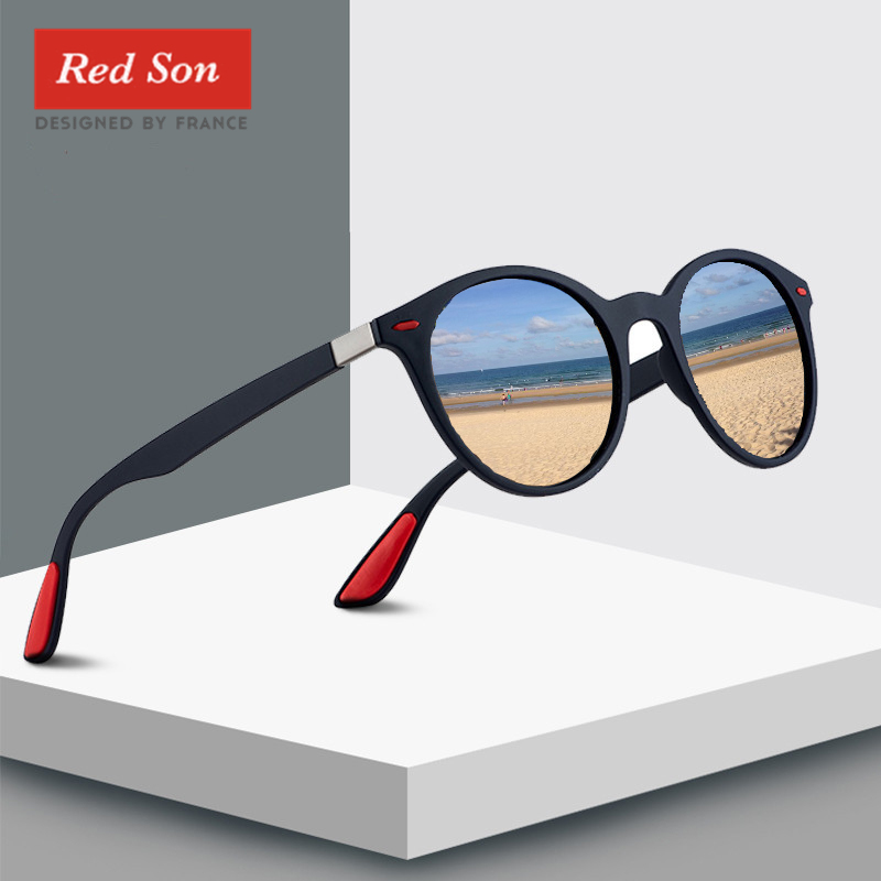 Red Son 2019 Fashion Ultralight Design Polarized Sunglasses Men Women Oval Frame TR90 Legs Round Sun Glasses Driving Goggles