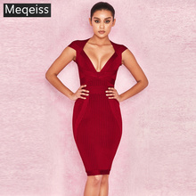 New Summer Women Dress V Neck Striped Bandage Dress Sexy Bodycon Elegant Celebrity Party Wine Red Dresses Club banquet Vestidos
