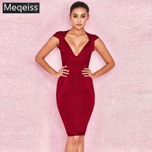 חדש קיץ נשים שמלת V צוואר פסים תחבושת שמלה סקסי Bodycon אלגנטי סלבריטאים מסיבת יין אדום שמלות מועדון אירועים Vestidos