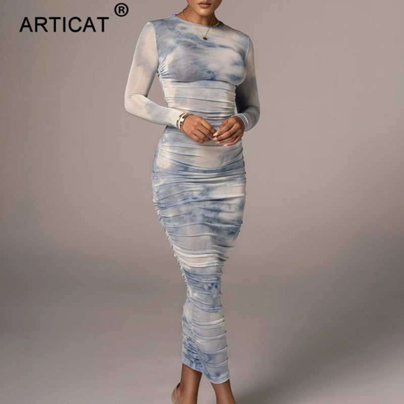 Articat Tie-Dye Print Ruched Christmas Dress For Women Long Sleeve Sexy Bodycon Winter Dress Elastic Pleated Casual Party Dress 10
