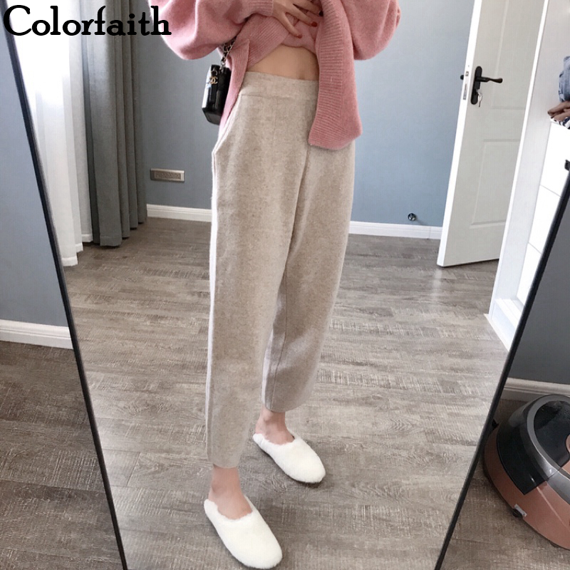 Colorfaith New 2019 Autumn Winter Women Pants Knitting Woolen High Waist Loose Elegant Korean Style Casual Banana Pants P5712