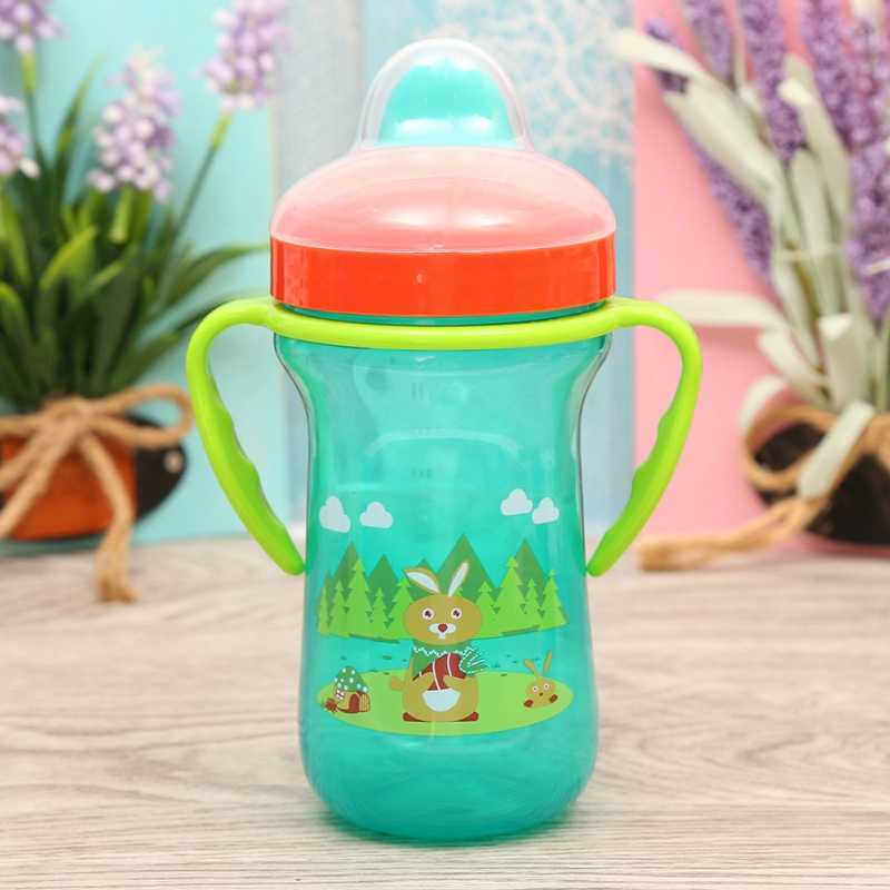 300ML Baby Cups Kids Toddler Cartoon Duckbill Mouth School Cartoon Water Drinking Bottles Infant Cups With Handles