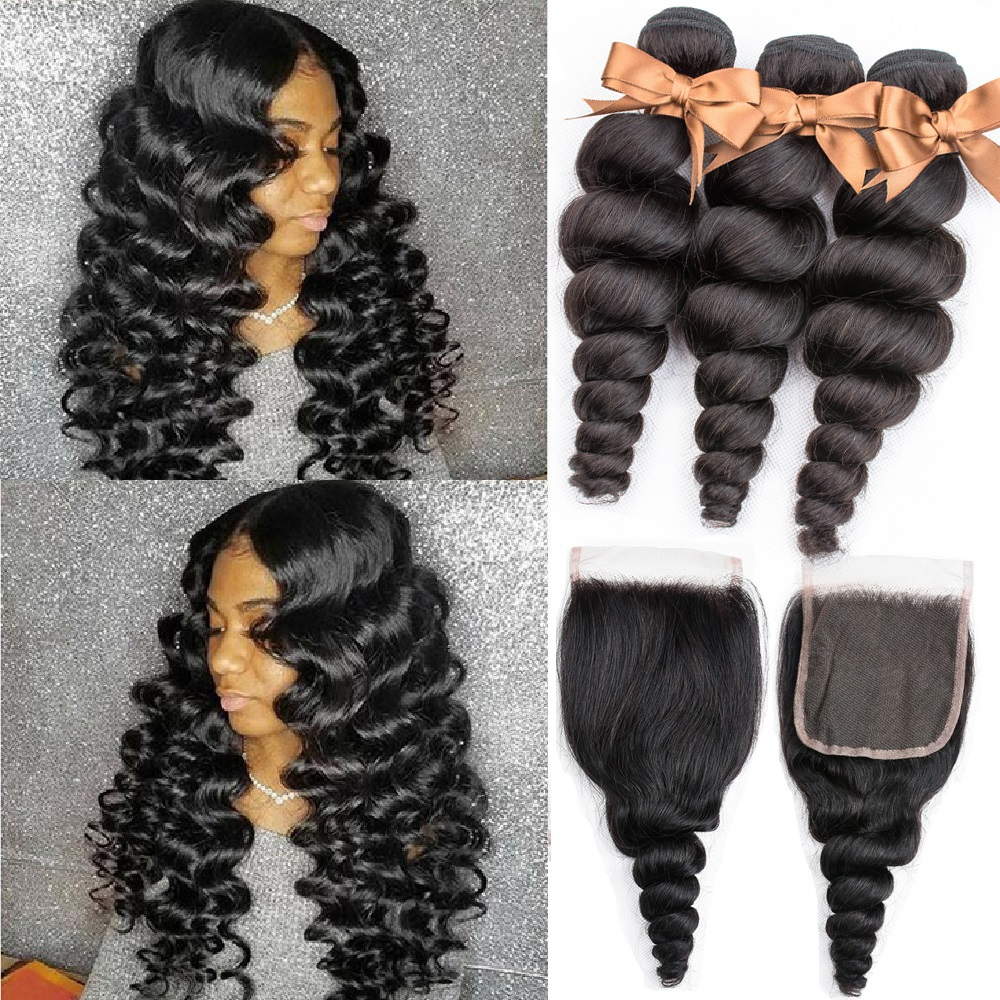 Beaudiva Hair Brazilian Hair Weave Bundles With Closure Remy Human Hair 3 Bundles With Closure Loose Wave Bundles With Closure