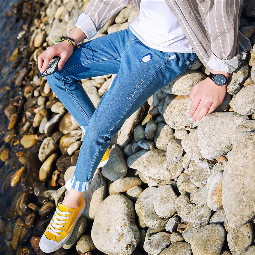 2017 Spring And Summer New Style MEN'S Jeans Teenager Men Elasticity Slim Fit Fashion Korean-style Skinny MEN'S Trousers Fashion