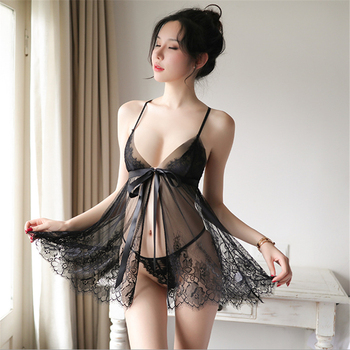 Sexy backless women sleep wear night gowns with thong sets V-neck lace sexy young girl perspective design black White Mini Dress black v neck cami mini dress with crochet lace