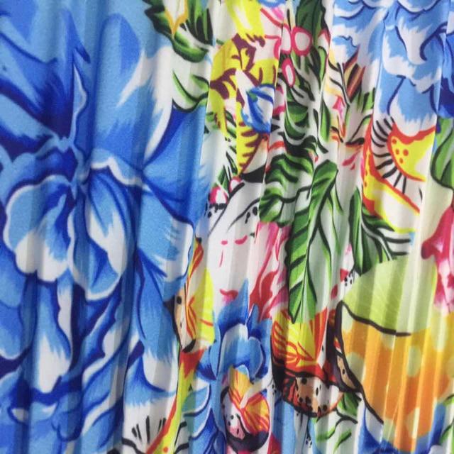Autumn Long Sleeve Women Pleated Floral Print Dress 2019 Elegant Female Plus Size African Office Ladies Vintage Midi Dress Retro 4