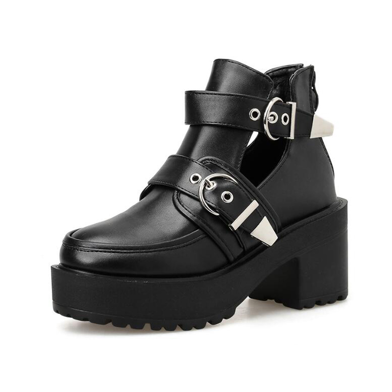 GBHHYNLH Spring Fashion Ankle Boots Women High Heels Casual Cut outs Buckle Round Toe Chain Thick Heels Platform Shoes LJA825 in Ankle Boots from Shoes
