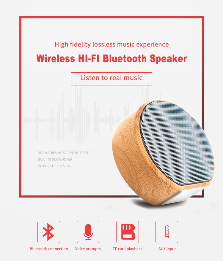 Image 4 - Wood Altavoz Bluetooth Speaker Portable Subwoofer Wireless Mini Bluetooth Sound Box Support AUX TF Card USB for iPhone Android-in Portable Speakers from Consumer Electronics