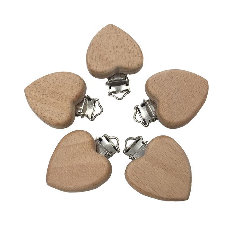 5Pc Lovely Wooden Pacifier Chain Natural Beech Wood Baby Pacifier Clips DIY Dummy Clips Accessory