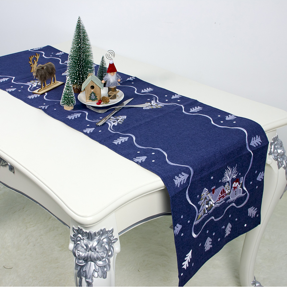 1pc 180*40cm Embroidery Modern Table Runner Christmas Table Cloth Cover Tablecloth For Home Xmas New Year Decoration