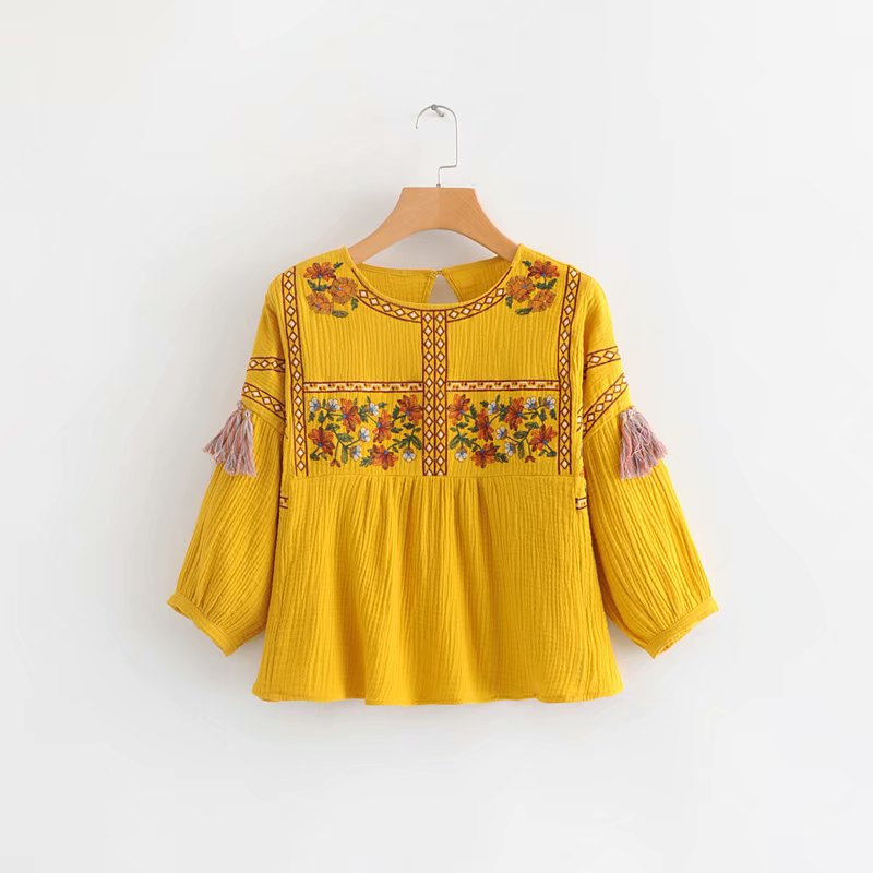 women vintage o neck embroidery yellow smock Shirt blouses women lantern sleeve tassel decoration casual blusas chic tops LS2566