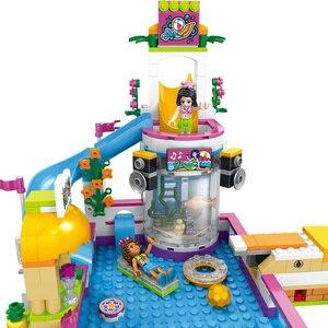 Image 4 - 도시 친구 심장 호수 여름 도시 수영장 파티 소녀의 조립 집 빌딩 블록 아이들을위한 친구 벽돌 장난감