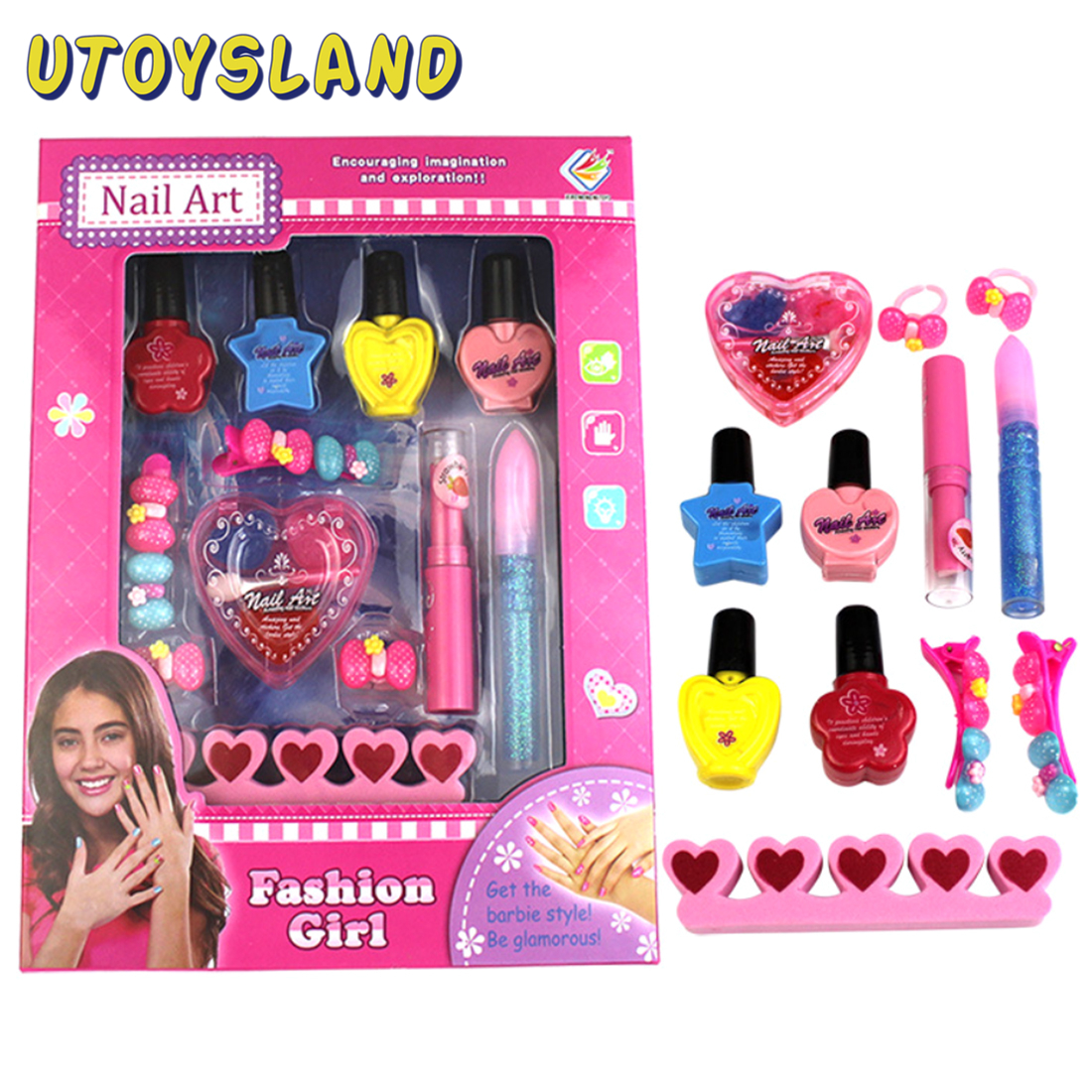 Hot Sale 12Pcs Children Pretend Play Nail Art Toy Girl Cosmetics Playset Kids Makeup Toys For Children Gifts Nail Polish Toys
