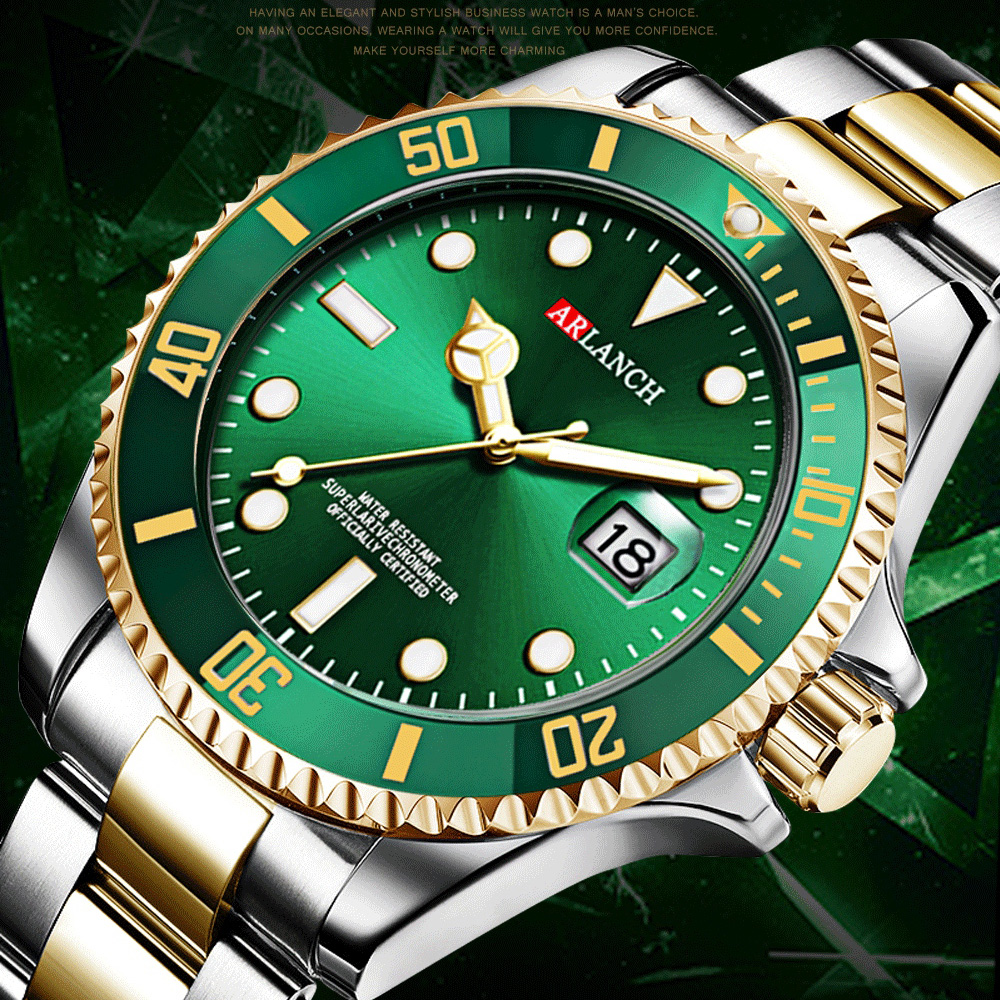 2020 Rolexable Top Brand Luxury Golden Watch Men Sports Waterproof Date Stainless Steel Wristwatches For Man Relogio Masculino