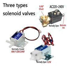 6 мм ac220в~ 240 В микро электрический Соленоидный клапан N/O нормально открытый клапан для кофемашины переключатель потока воды 6V12V24V воздушный клапан