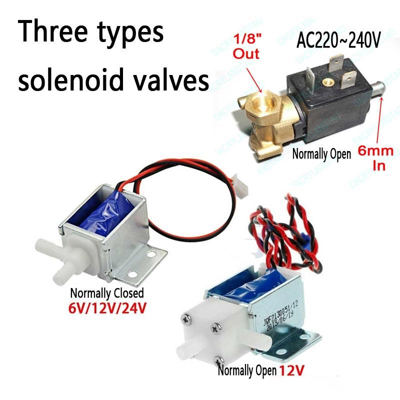 6mm AC220V ~ 240V Micro Elektrische Magnetventil N/O Schließer für Kaffee maschine ventil wasser fluss Schalter 6V12V24V Luft Ventil