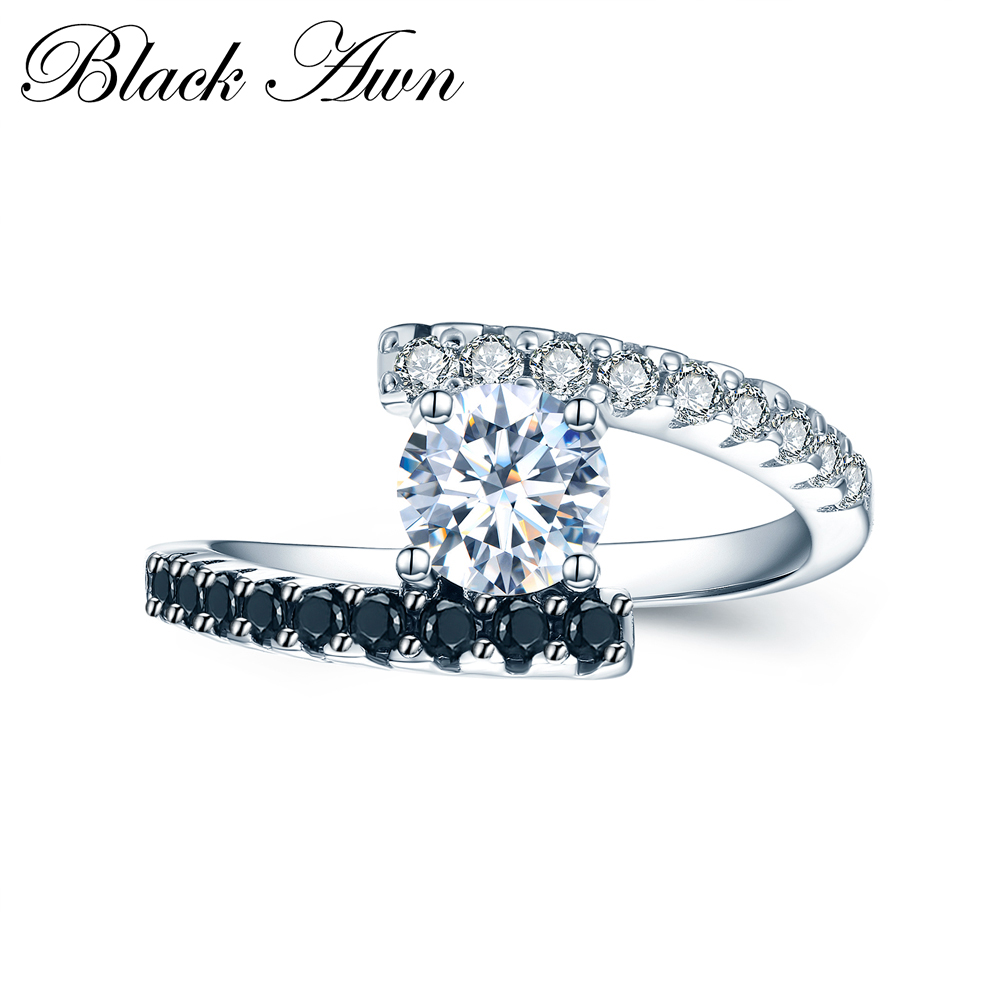 [BLACK AWN] Vintage 2.9g 925 Sterling Silver Rings Fine Jewelry Black Spinel Wedding Rings for Women Femme Bijoux Bague C011|ring for|rings for womenrings for weddings - AliExpress
