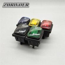 Waterproof Rocker-Switch KCD4 110V 220V 20A with LED 12V 24V 110v/220v/30x22 Sealed DPST