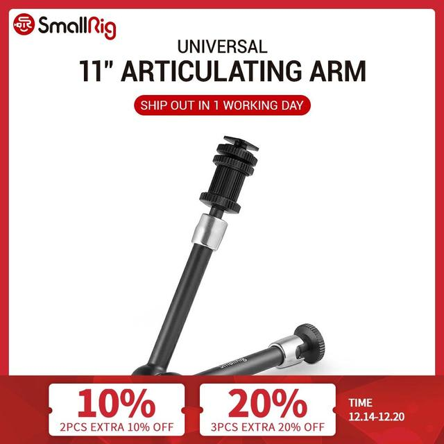 """SmallRig DSLR 11"""" Articulating Rosette Arm Camera Magic Arm with Cold Shoe Mount & Standard 1/4"""" 20 Threaded Screw Adapter  1498"""