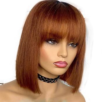 Peluca brasileña Castaño Remy 360 de encaje de pelo humano transparente 13x6 pelucas de encaje frontal pelucas Bob pelucas con flequillo liso sedoso pelucas de encaje completo