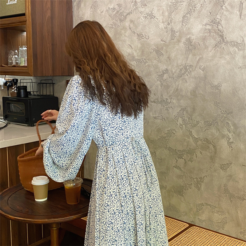 H95308b3edfde4aa5838971f74d6eae13g - Autumn O-Neck Lantern Long Sleeves Floral Print Midi Dress