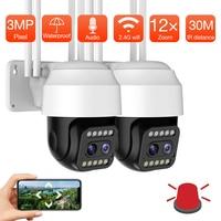 Telecamera WIFI da 5mp Dual Lens 12X Zoom 3MP 1080P telecamera IP esterna Wireless PTZ monitoraggio automatico telecamera di sorveglianza di sicurezza CCTV