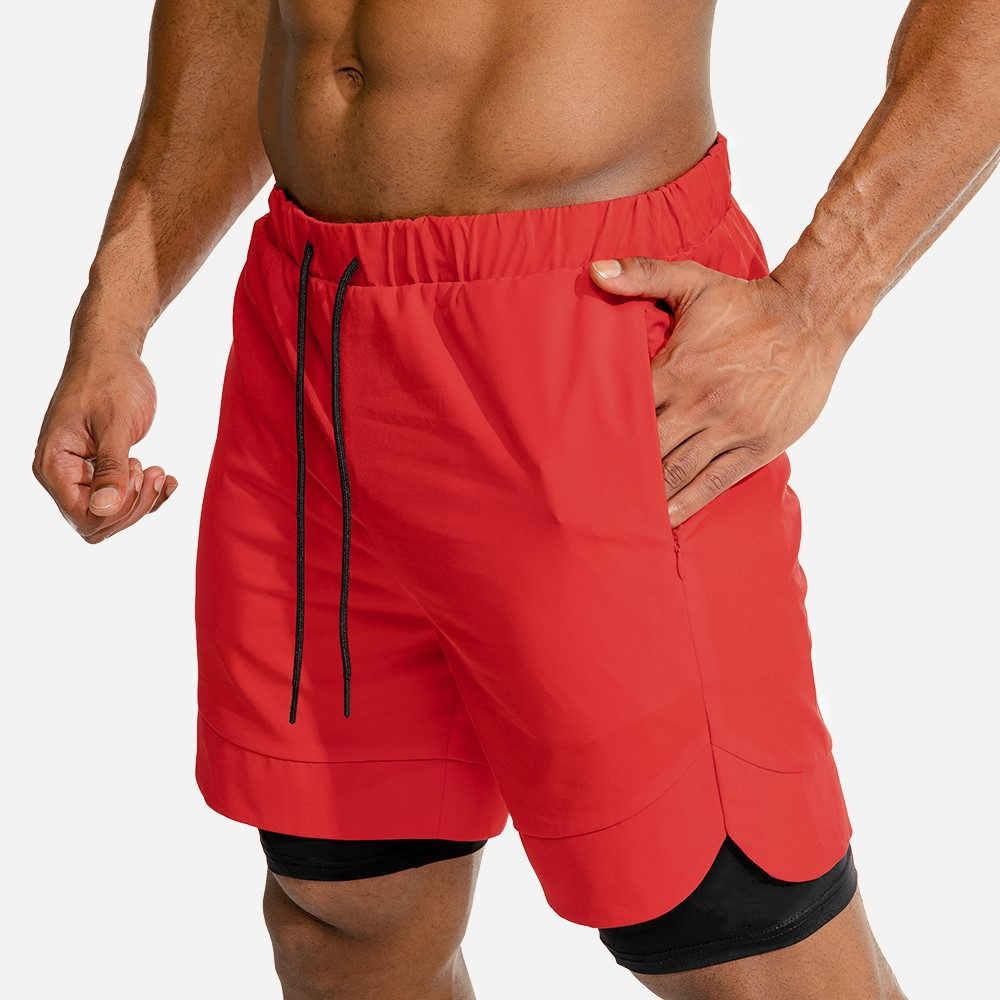 2 in 1 shorts Uomini Corsa e Jogging Sport Doppio strato Built-in tasca Dei Pantaloni Corti Palestra Per Il Fitness Da Jogging Bermuda Estate Della Spiaggia di Sesso Maschile shorts