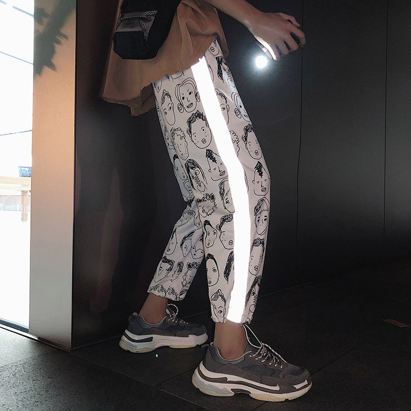 Harem Pants Are Cool Female Pants New Loose Reflective Strip Bf Style Large Size Hip Hop Casual Pants Trend Pant Black Plaid 19