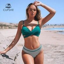 CUPSHE-Conjunto de Bikini Floral de realce para mujer, bañadores de dos piezas con Tanga Sexy, trajes de baño de playa, novedad de 2021