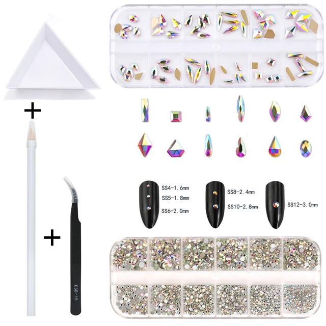 2220 Pcs Nail Decorations Gems Stones Set Multi Shaped Crystal AB Glass FlatBack Rhinestones For Nails Art 3D Craft 1